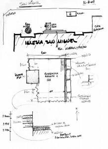 Planos de libreta de campo de la excavación ubicando los hallazgos y el sector de pisos del atrio antiguo.