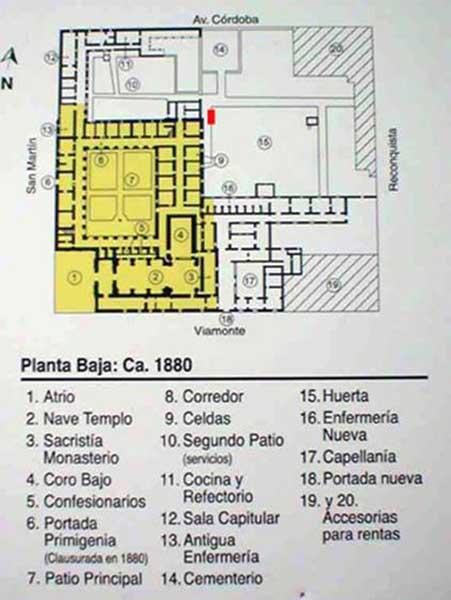 Ubicación del sitio del hallazgo en el plano de 1880 (en rojo), en amarillo lo actualmente conservado del conjunto.