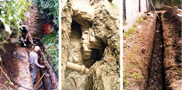 Excavación mecánica de las zanjas en el sector Norte y Este del conjunto. Nótese el albañal cortado por la instalación sanitaria de 1895.