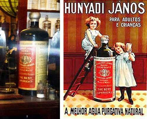 Botella publicitaria y el tipo de propaganda internacional que realizaba la empresa, en Gran Bretaña y en Brasil.