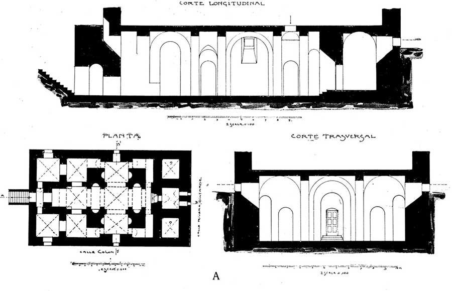 Relevamiento (planta y cortes) del arquitecto Kronfuss publicado en 1921.