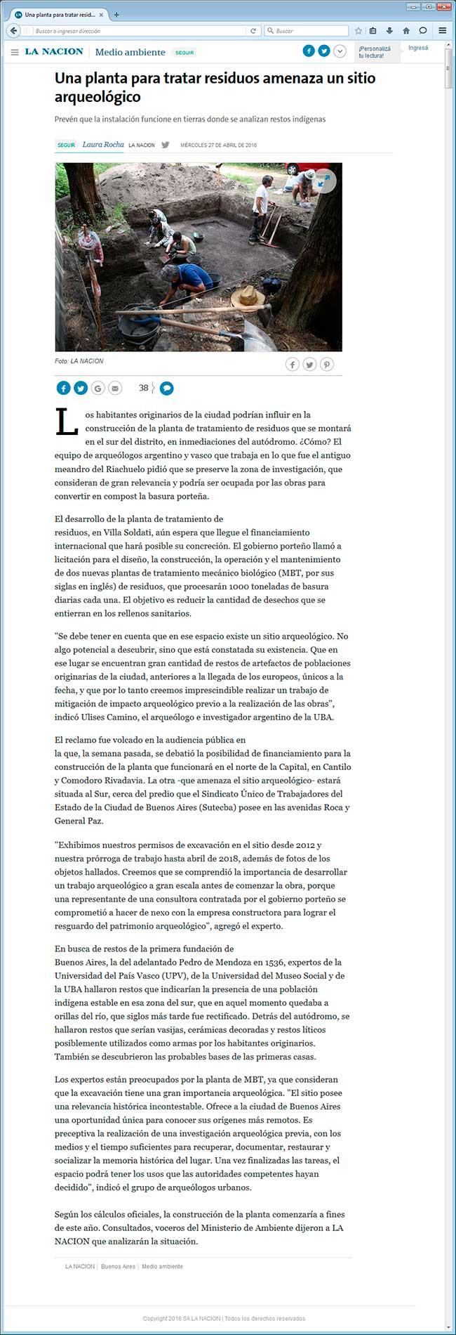 Captura del diario La Nación, 27 de abril de 2016
